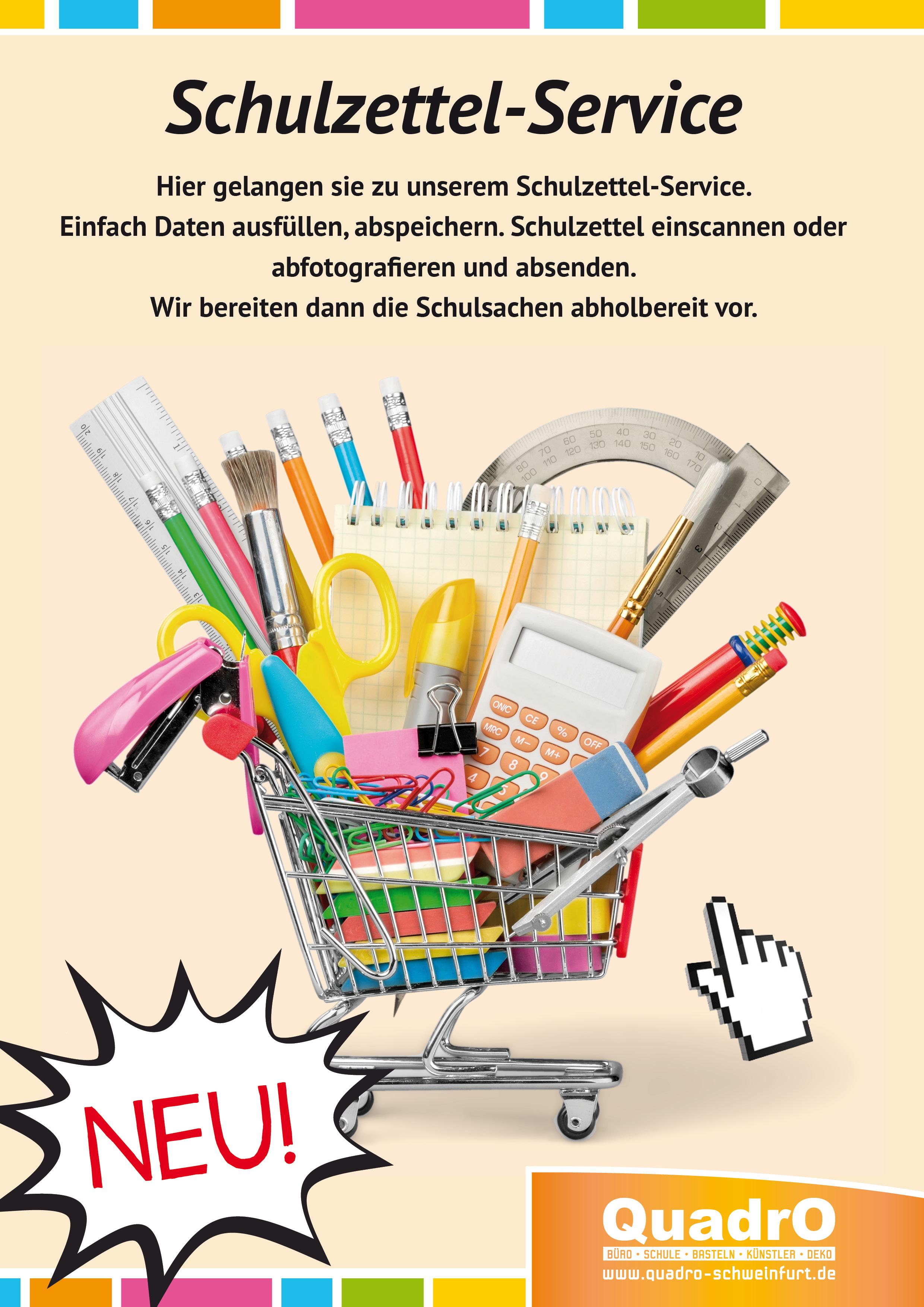 Schulzettel, Einkaufen, Service
